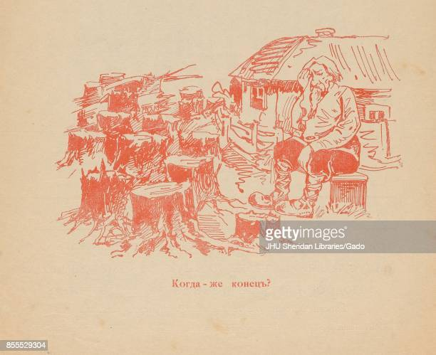 Cartoon from the Russian satirical journal Miting depicting a farmer sitting on a crate in front of his house surrounded by tree stumps with text...