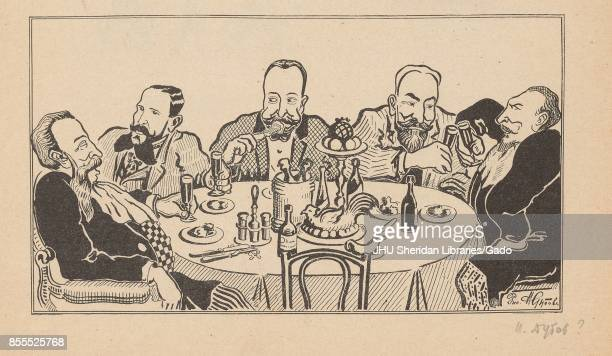 Cartoon from the Russian satirical journal Na Rasputi depicting a group of five welldressed men sitting around a table eating and drinking with a...
