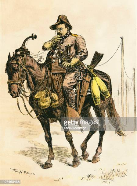 Cartoon illustration showing Theodore Roosevelt in his Rough Rider uniform while considering the 'Vicepresidential Possibilities' for the United...