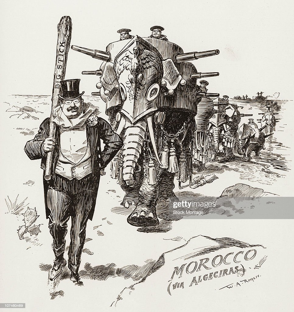 Cartoon illustration showing Theodore Roosevelt the twentysixth president of the United States February 1906 He is shown carrying a 'Big Stick' and...