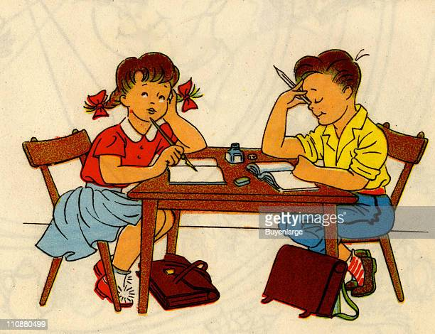 Cartoon illustration shows a girl and boy as they read and write at a table their schoolbags on the floor beneath them mid twentieth century