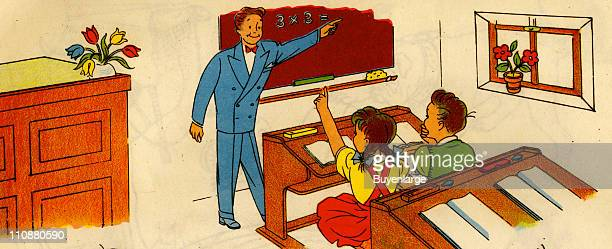 Cartoon illustration shows a teacher as he stands at a blackboard and a girl who raises her hand to answer the multiplication problem written upon it...