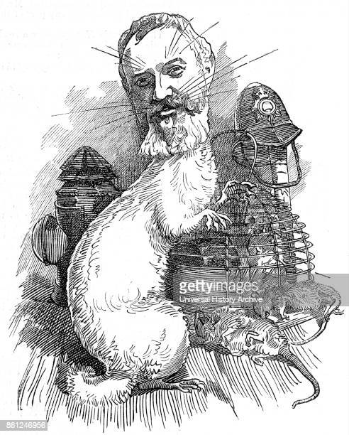 Cartoon in Punch magazine 1883 showing Frederick Adolphus 'Dolly' Williamson the first head of the Detective Branch of the Metropolitan Police and...