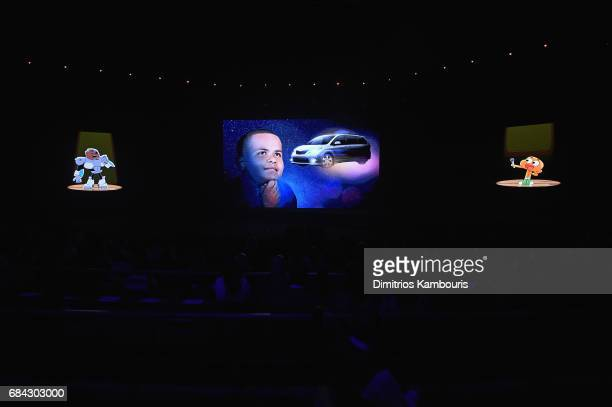 Cartoon network characters appear onscreen during the Turner Upfront 2017 show at The Theater at Madison Square Garden on May 17 2017 in New York...