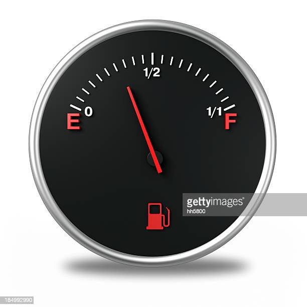 A cartoon of a gas gauge that is almost empty