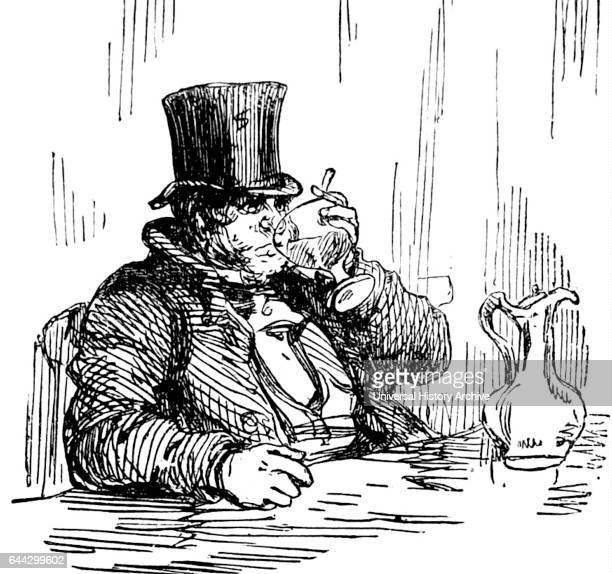 Cartoon of a man drinking whisky and water Dated 19th Century