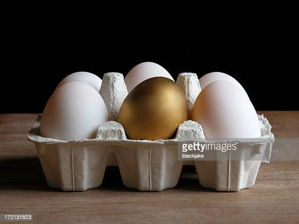 Cartoon of eggs with a golden egg in the center