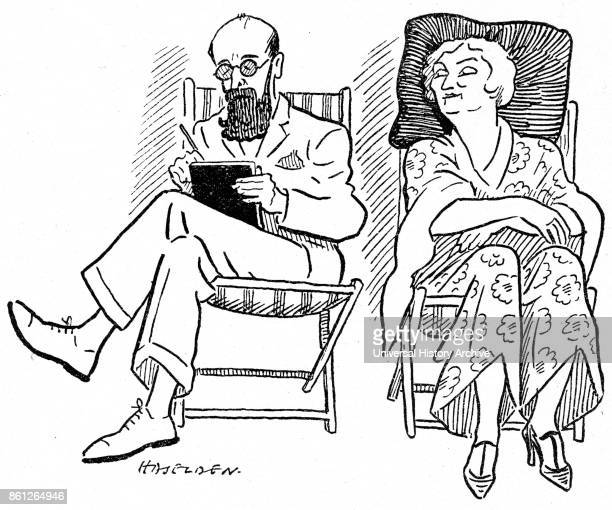 Cartoon of Sybil Thorndike an English actress and Arthur Wonter during their performance in 'Village Wooing' Dated 20th Century
