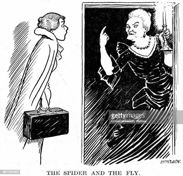 Cartoon of Sybil Thorndike an English actress and Carol Goodner an American actress during their performance of 'Double Door' Dated 20th Century