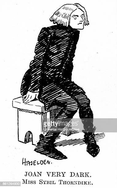 Cartoon of Sybil Thorndike an English actress Dated 20th Century