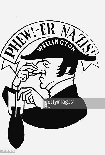 A cartoon of the nose of a British Vickers Wellington Mk 1C bomber of No 214 Squadron based at RAF Stradishall November 1940 The image depicts the...