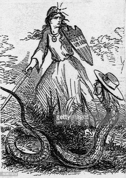 A cartoon relating an incident where the Chicago authorities stopped a 'Copperhead' plot to disrupt the forthcoming election and burn the city 6th...