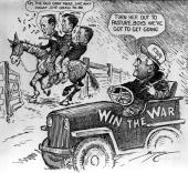 A cartoon satirizing the change of emphasis in Franklin Roosevelt's government from concentrating on the New Deal to winning the war Roosevelt is...