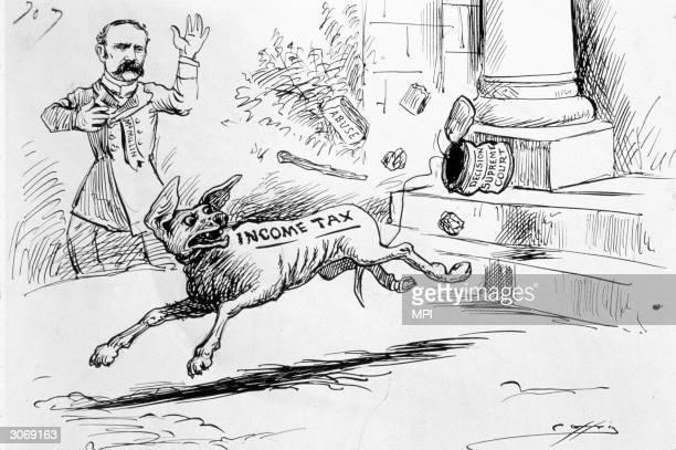 A cartoon satirizing the Supreme Court's decision to declare the income tax unconstitutional while Democratic politician Benton McMillin a major...