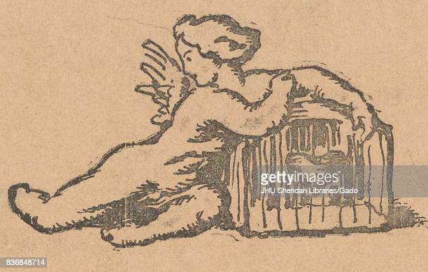 Cartoon showing a winged cherub guarding a box with a heart from the Russian satirical journal Bich 1917