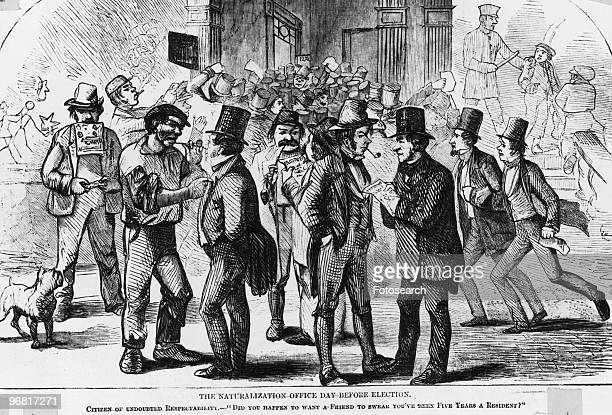 Cartoon showing men gathering to cheat the ballot with some tumult in background and caption 'The Naturalisation Office Day Before Election'...