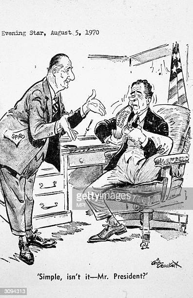 A cartoon showing Vice President Spiro Agnew teaching President Nixon how to put his foot in his mouth after President Nixon's remarks about the...