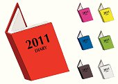 Cartoon style diary for 2011 with seven colour variations