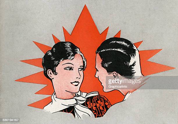 Cartoon style illustration of a 1920s couple talking to each other 1928