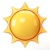 Cartoon sun emoji isolated on white background, sunshine emoticon 3d rendering