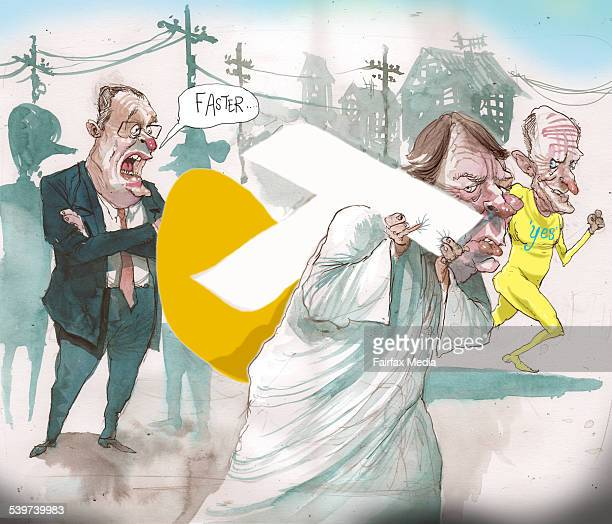 Cartoon / toon / Illustration / Illo by David Rowe Telstra chief executive David Thodey and Optus chief executive