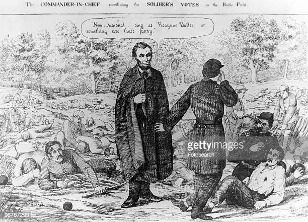 Cartoon with the caption 'The CommanderinChief Conciliating the Soldiers Votes on the battle field' depicting Abrahm Lincoln wearing a cloak and...