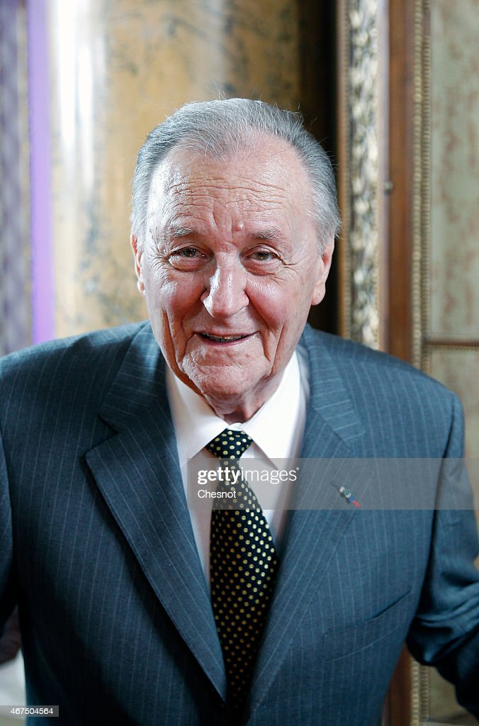 Cartoonist Albert Uderzo of France poses prior to a press conference at the Monnaie de Paris on March 25, 2015, in Paris, France. A new twelve piece coin series illustrated with Asterix entitled 'Asterix and the values of the Republic' was presented in Paris.