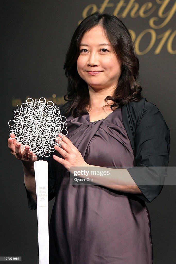Cartoonist Eriko Saibara is presented an award during the 'Vogue Nippon Women of the Year 2010' award ceremony at Grand Hyatt Tokyo on November 22, 2010 in Tokyo, Japan.