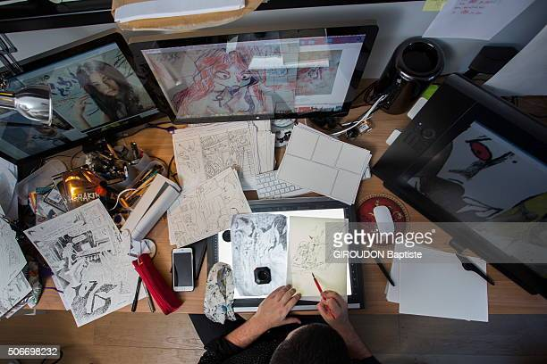 Cartoonist Joann Sfar poses at home on january 14 2016 in Paris France