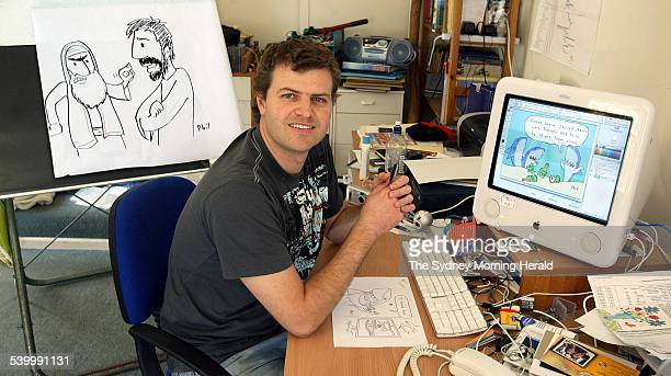 Cartoonist Phil Watson at his Avolon home where he creates his Christian cartoons 26 May 2006 SMH Picture by ROBERT PEARCE