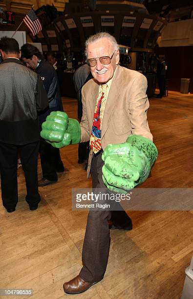 Cartoonist Stan Lee visits the New York Stock Exchange on October 5 2010 in New York City