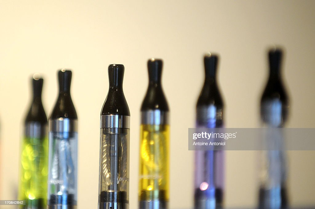 Cartridges of electronic cigarettes sit on display at a store on June 19, 2013 in Paris, France. French Social Affairs and Health Minister Marisol Touraine announced the government's intention to ban the electronic cigarette in public places and for smokers under 18 years.