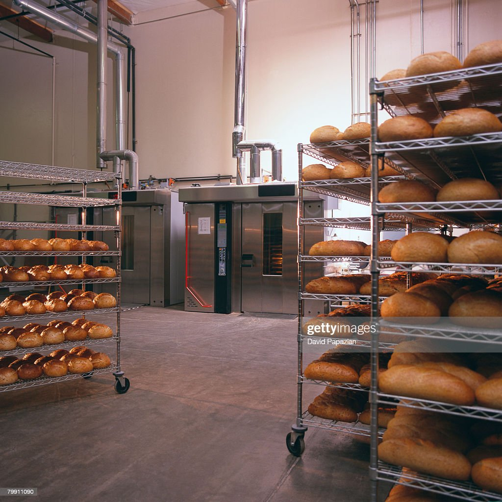 Carts Full of Bread at Bakery : Stock Photo