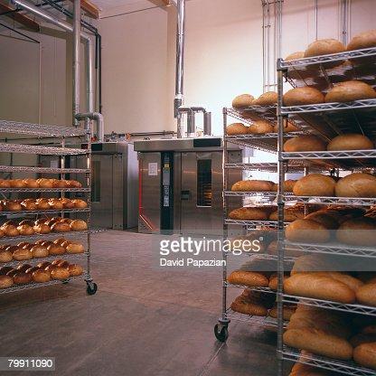 Carts Full of Bread at Bakery : Photo