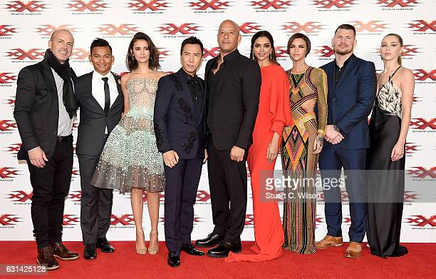 DJ Caruso Tony Jaa Nina Dobrev Donnie Yen Vin Diesel Deepika Padukone Ruby Rose Michael Bisping and Hermione Corfield attend the European Premiere of...