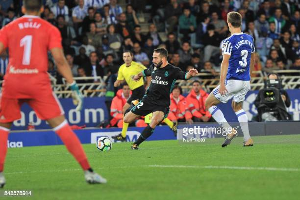 Carvajal of Real Madrid during the Spanish league football match between Real Sociedad and Real Madrid at the Anoeta Stadium on 17 September 2017 in...