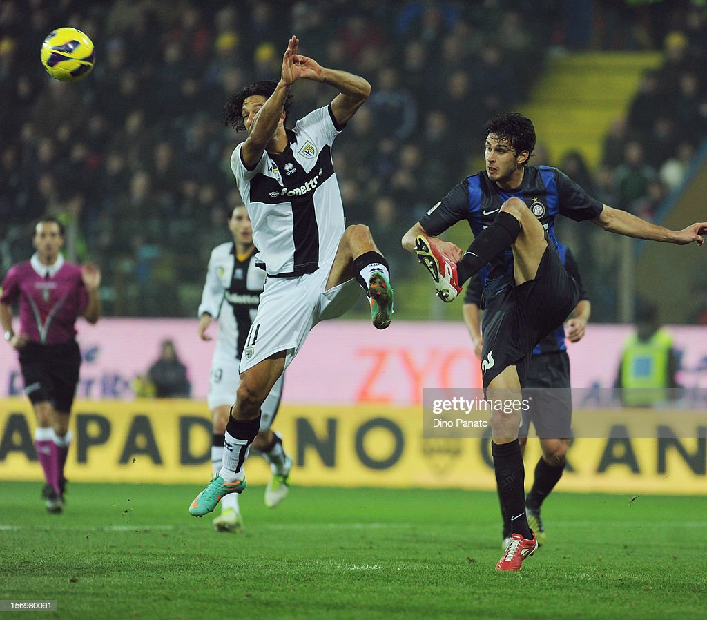 Carvalho Amauri of Parma FC competes with Andrea Ranocchia of Internazionale Milano during the Serie A match between Parma FC and FC Internazionale Milano at Stadio Ennio Tardini on November 26, 2012 in Parma, Italy.