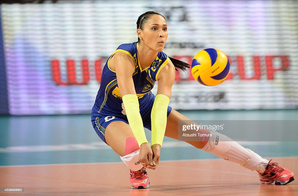 Carvalho Jaqueline of Brazil receives the ball against China during the FIVB World Grand Prix Final group one match between Brazil and China on August 21, 2014 in Tokyo, Japan.