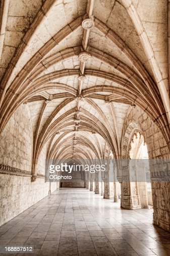 Carved arched corridor in monastery