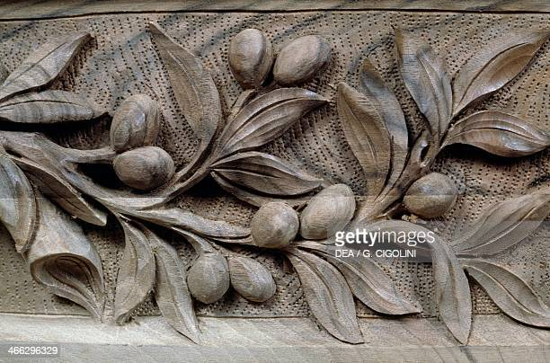 Carved craftsmanship by a cabinetmaker Rome Lazio Italy Detail