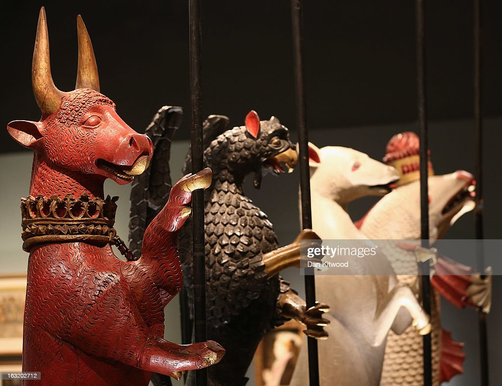 Carved figures including the 'Dacre Bull' (foreground) are displayed during a press preview of the V&A's new exhibit on March 6, 2013 in London, England. The exhibition, 'Treasures of the Royal Court: Tudors, Stuarts and the Russian Tsars' examines the development of cultural diplomacy and trade between Britain and Russia from it's origins in 1555. The runs at the V&A museum until July 14, 2013.