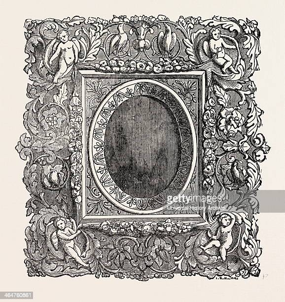 Carved Picture Frame Tuscany Italy 1851 Engraving