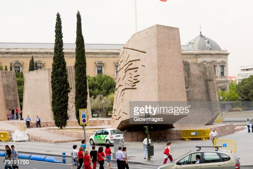Carved rock in front of a building, Barcelona, Spain : Stock Photo