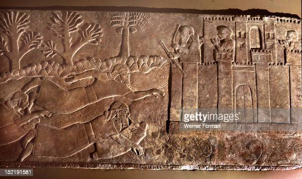 Carved slab from King Ashurnasirpal IIs throne room at Nimrud Warriors are crossing the river probably the Euphrates on inflated skins with breathing...