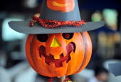 A carved up pumpkin or jackolantern is displayed during a jackolantern competition to celebrate Halloween in Jakarta on October 31 2009 Halloween a...