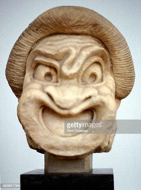 Carving of a mask used in Ancient Greek theatrical comedy 3rd century BC