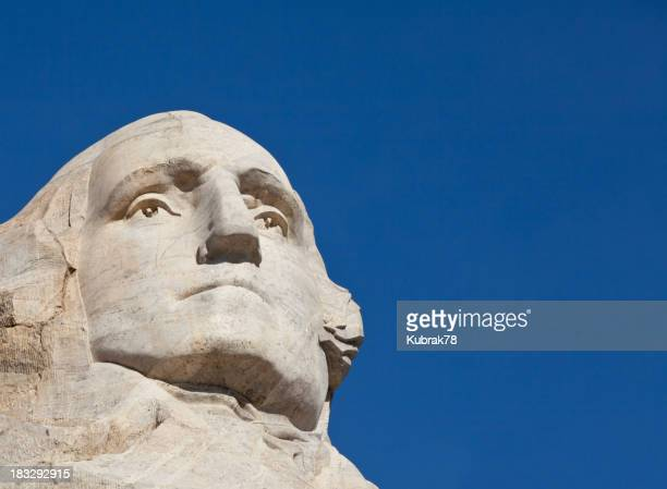 A carving of President George Washington at Mount Rushmore