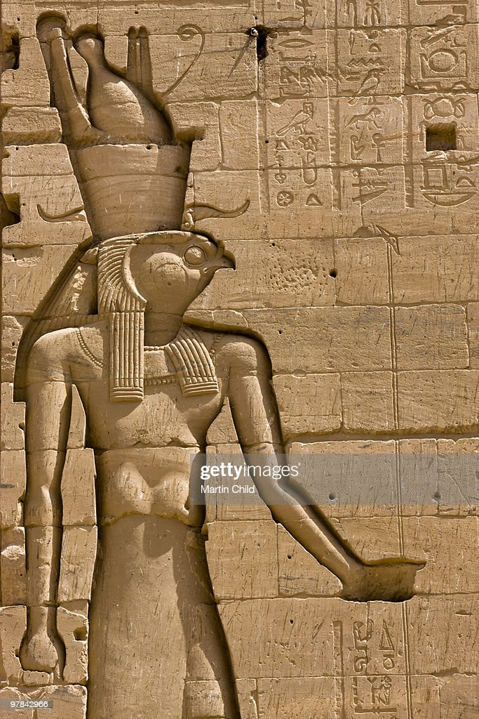Carving of the egyptian god horus stock photo getty images