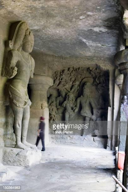 Carvings at Caves at Elephanta Island.