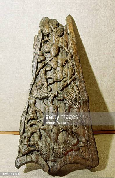 Carvings on the stem/stern of the Oseberg ship The gripping beasts motif echoes the mischief wrought by Loki Norway Viking c 850 AD